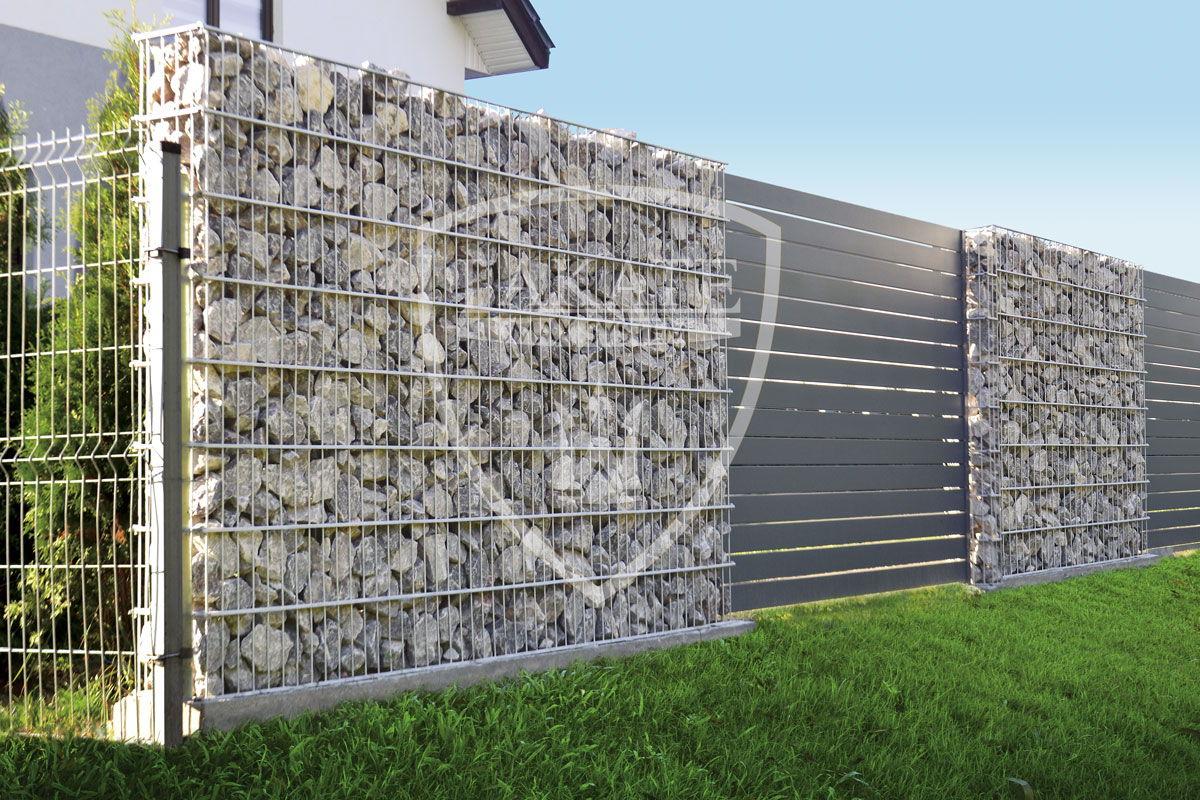 Gabion Fence, ogrodzenie Alu Wood Fence