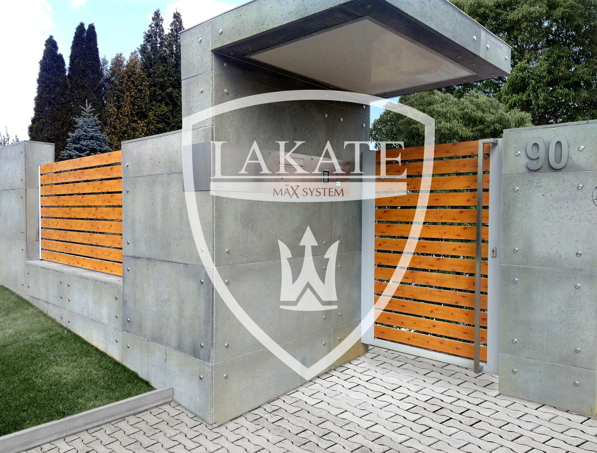 Płyty z betonu architektonicznego. Realizacja 2016. Wypełnienia aluminiowe Alu Wood Fence Optimal-Sosna